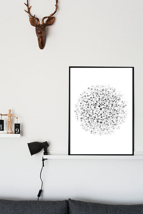 Abstract Art Print  Molecule Decorative by NordicPrintStudio