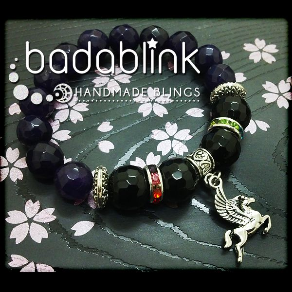 Purple black stone and rhinestones bracelet with silver metal Pegasus flying horse charm | Material: natural stones and metal | Length: 18-22 cm/7-9 inches   | Inquiries: facebook.com/badablink    | Line: badablink    | Email: hello@thebadablink.com