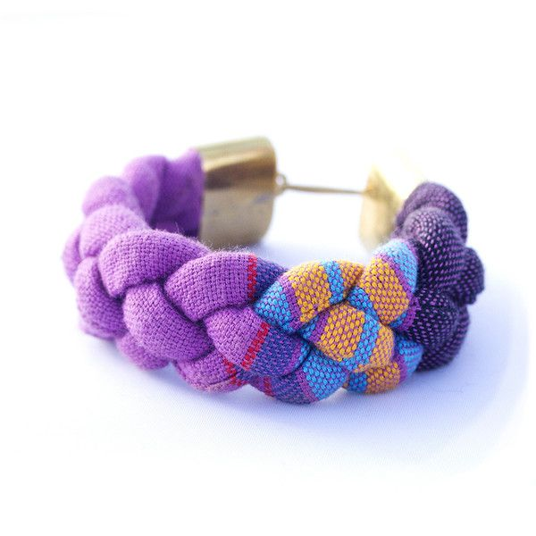 Recycled tubes of kikoy fabric are braided together in colorful combinations....