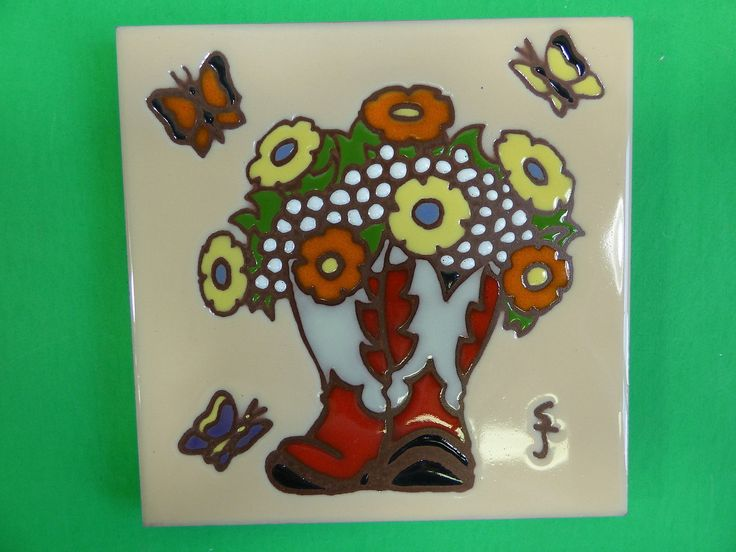 "Ceramic Art Tile 6""x6"" Western vase cowboy boots flowers ranch rustic trivet H15   eBay"