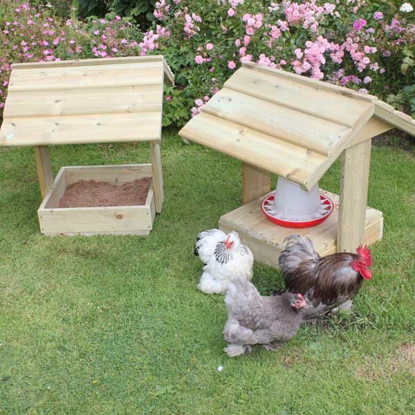 Feeder Shelter & Dustbath. When not using as a dustbath you can turn the base upside down and it becomes a feeder shelter