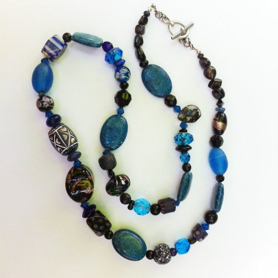 Necklace  Long Chunky  Indigo and Black  by BluePearEmporium