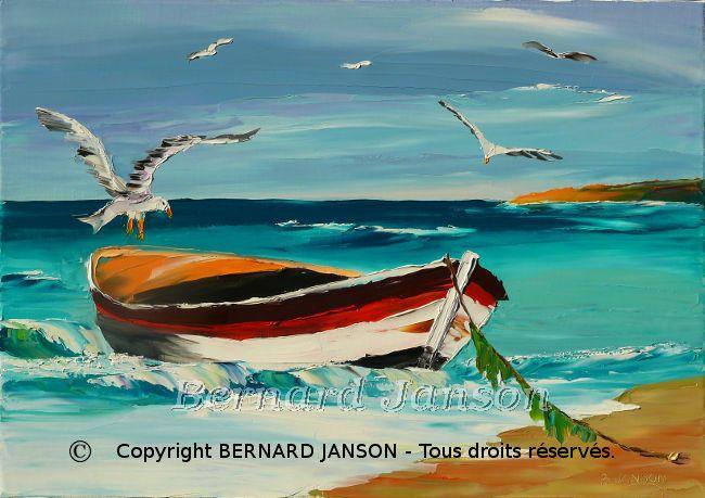 Peinture figurative au couteau barque de p che chou e for Peinture avec du sable