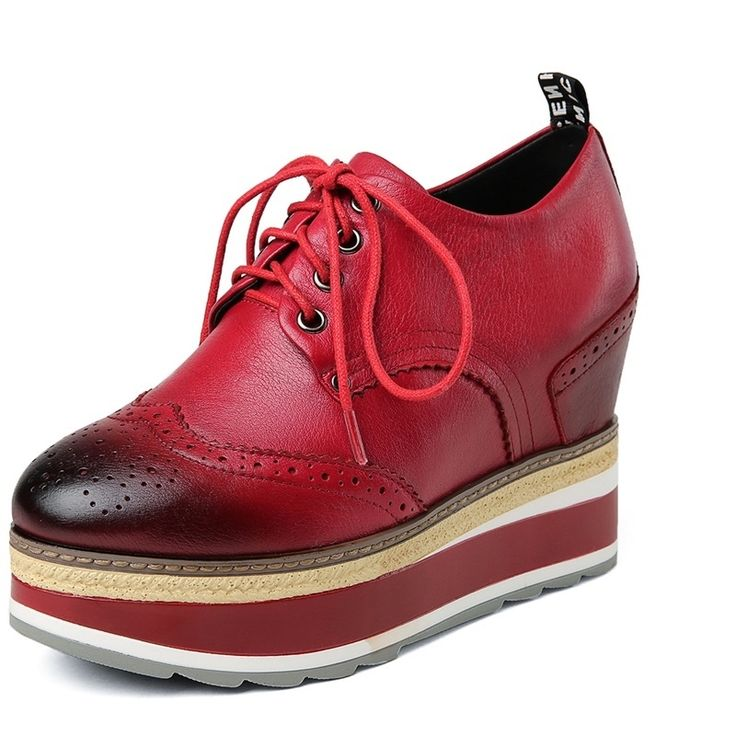 62.54$  Watch now - http://aliloo.worldwells.pw/go.php?t=32708215103 - Wedges heels 4 cm Ladies shoes woman Beautiful Winter Grain Leather Mixed Colors ankle boots platform woman casual shoes