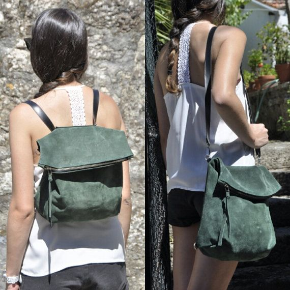 Leather backpack green crossbody bag by SANTIbagsandcases on Etsy