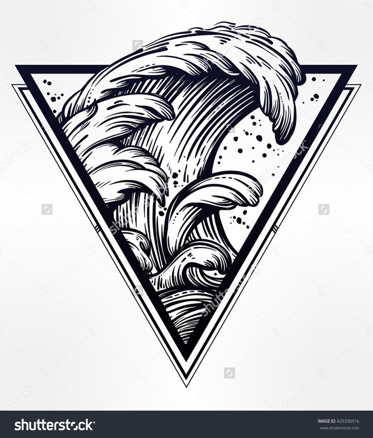 Hand drawn water waves in the sea line art drawing. Template in boho style. Isolated vector illustration. Tattoo, travel, adventure, meditation symbol. The great outdoors.