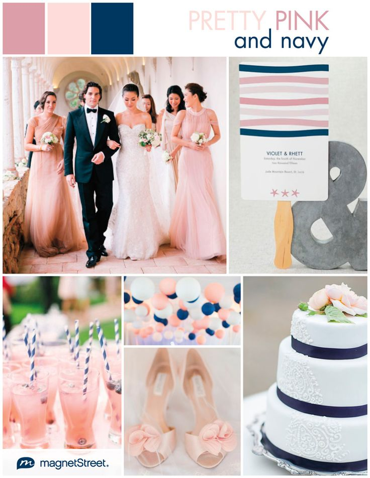 Pretty in two shades of pink! This lovely pink and navy wedding inspiration is definitely soft and romantic but it also has a preppy and playful side, too.