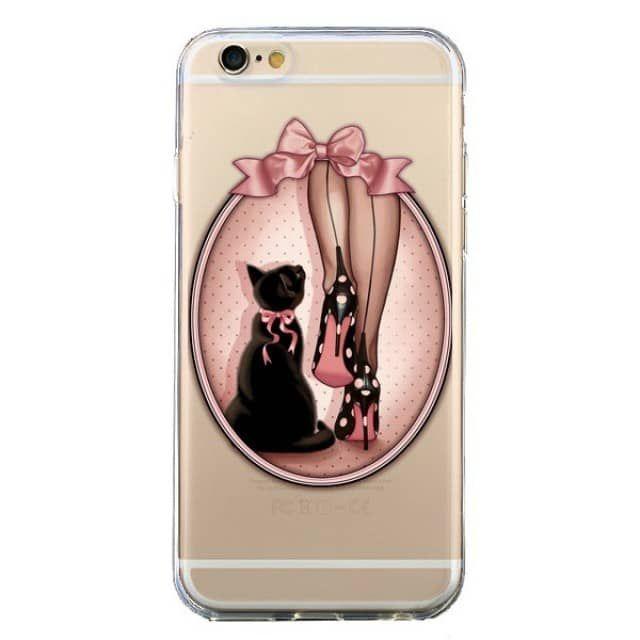 Coque Lady Chat Noeud Papillon Pois Chaussures Transparente pour iPhone 6 et 6S - Maryline Cazenave - Coques-iPhone.com