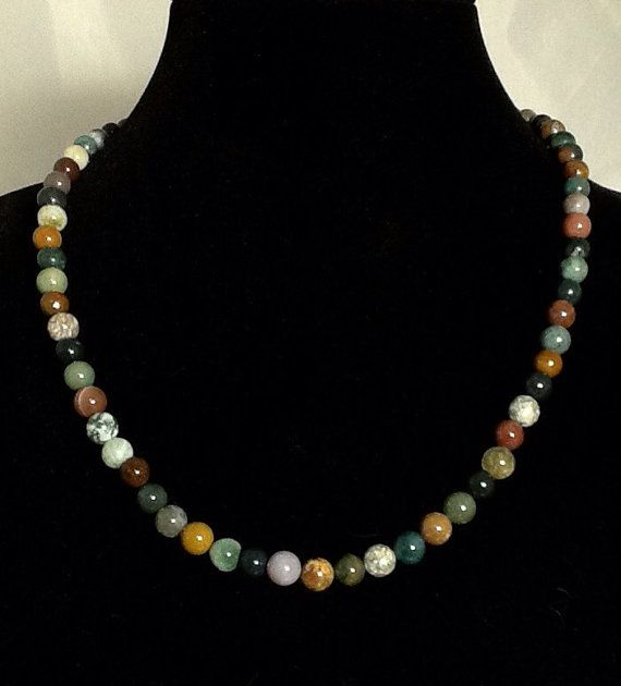 21 Inches of 8mm Indian Agate Make this Necklace Set a Real Gem! Beautiful Earth Tone Colours on Both Earrings and Necklace.