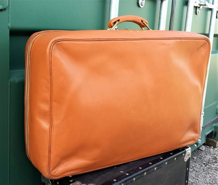 Vintage leather suicase, Caramel Brown Leather Suitcase, Monogrammed leather suitcase, lockable leather suitcase - Retro Suitcase by LuckSy on Etsy