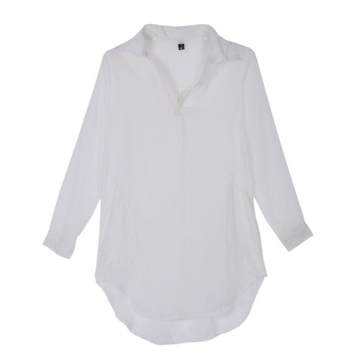Women Summer  Loose Long Sleeve Chiffon Shirt Blouse Plus Size New