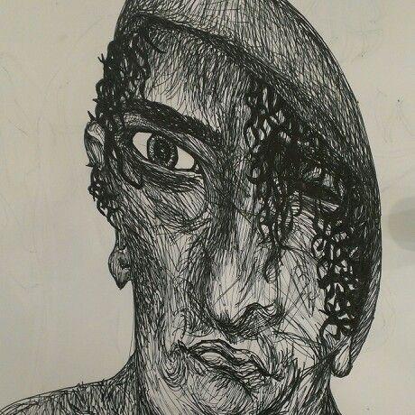 # picture #pen drawing # sketching #sketchbook work # Gommorah inspired gang member #