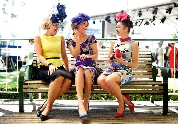 Racy colours mix and match with classic whites at the Caulfield Cup, as bright spring fashions go on display.