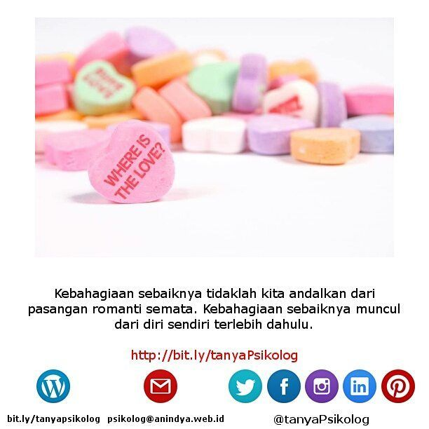 Anda Single atau Jomblo Hari Valentine Ini? Tak Usah Cemas!  #tanyaPsikolog #psikolog #jakarta #konseling #konsultasi #konsultasipsikologi #PsychologistJKT #Psychology #MHSM #psikologi #PsychologistJakarta #mentalhealth #thecouch #education #tanyapsikologi  Lihat yuk artikel lengkapnya di Blog Anindya Psychological Practice? http://bit.ly/2kxGCKz http://bit.ly/tanyaPsikolog
