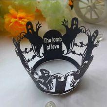 12X черный хэллоуин кружева лазерная резка бумажные формы для завертчицы свадьбы день рождения ну вечеринку(China (Mainland))