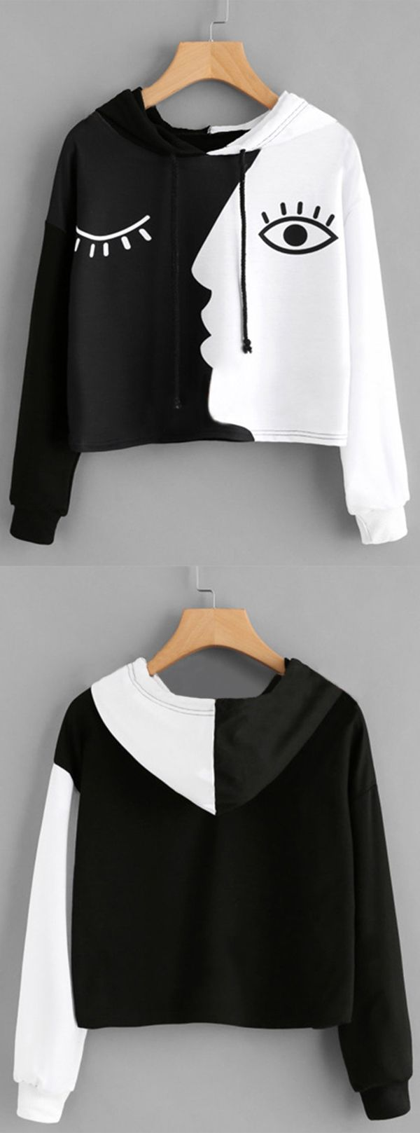[Newchic Online Shopping] 46%OFF Casual Face Print Hoodies for Women