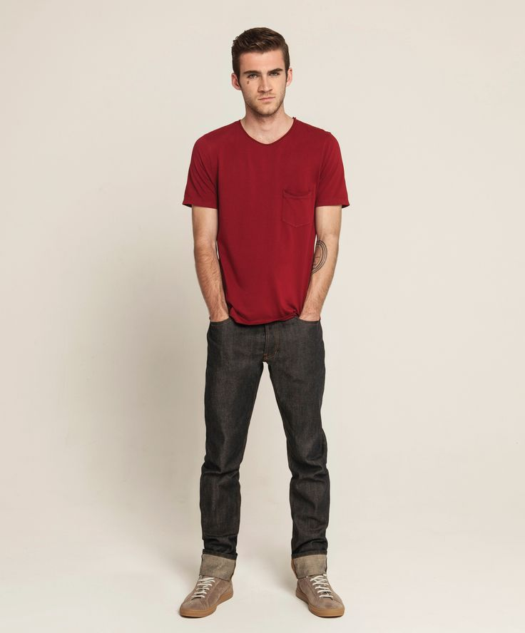 Light Weight Pocket T - Burnt Red, Selvedge Straight Leg - Dark Indigo