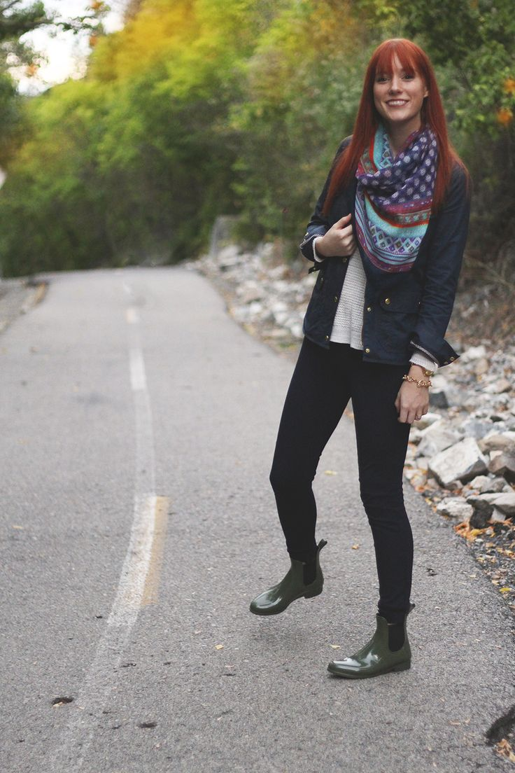 Fall Outfit   Chelsea rain boots + colorful scarf ...
