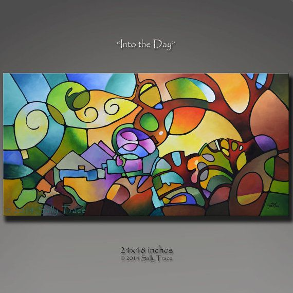 Original pintura abstracta, pintura geométrica del árbol de paisaje, gran arte de la pared, en el día 24 x 48, mirar vidrieras de arte abstracto geométrico