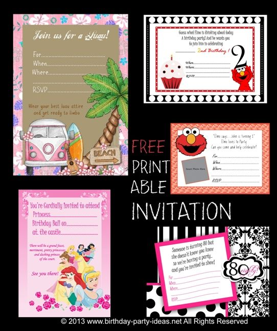 170 best images about Free Printable Birthday Party Invitations on – Party Invitations Templates Free Printable
