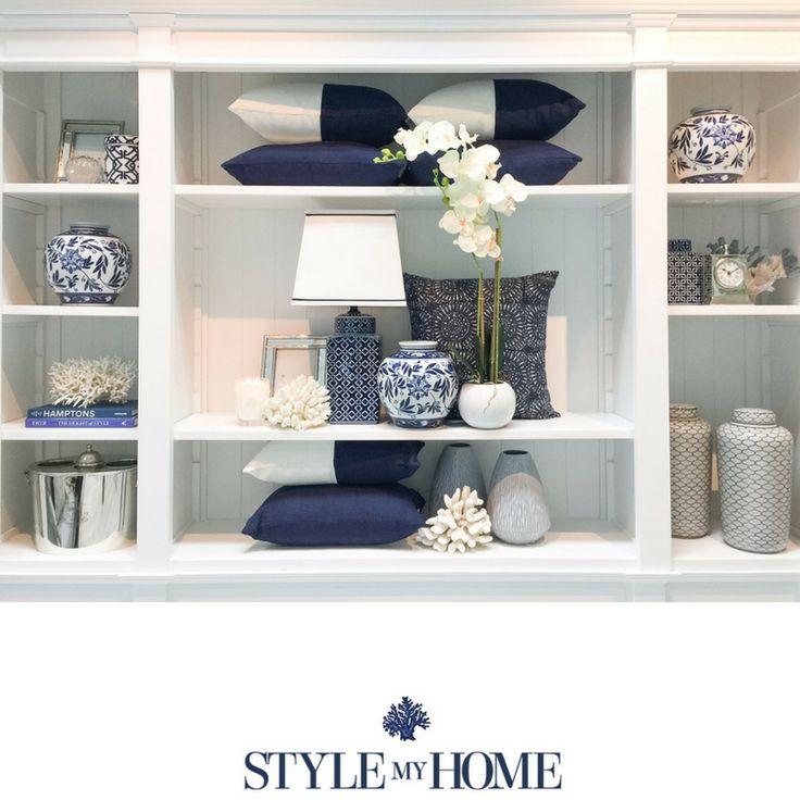 'Hamptons' Full Wall Cabinet Bookshelf