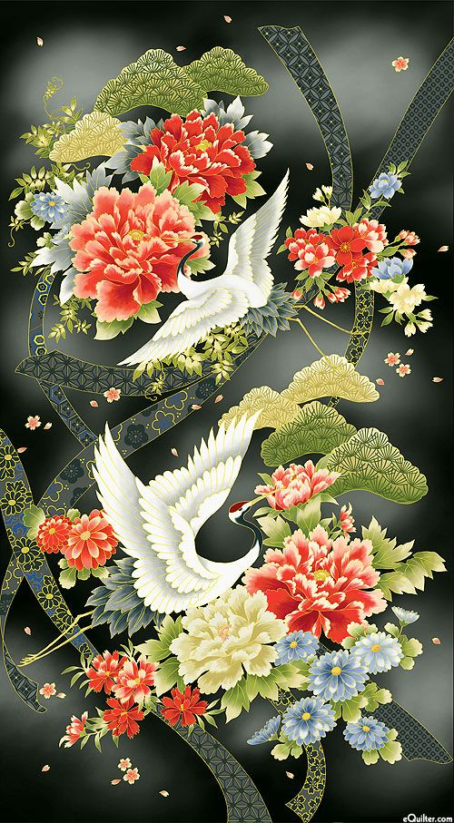 "Akahana - Cranes in Spring - 24"" x 44"" PANEL - Quilt Fabrics from www.eQuilter.com"