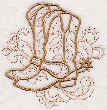 Doodle Cowboy Boots design (M7868) from www.Emblibrary.com
