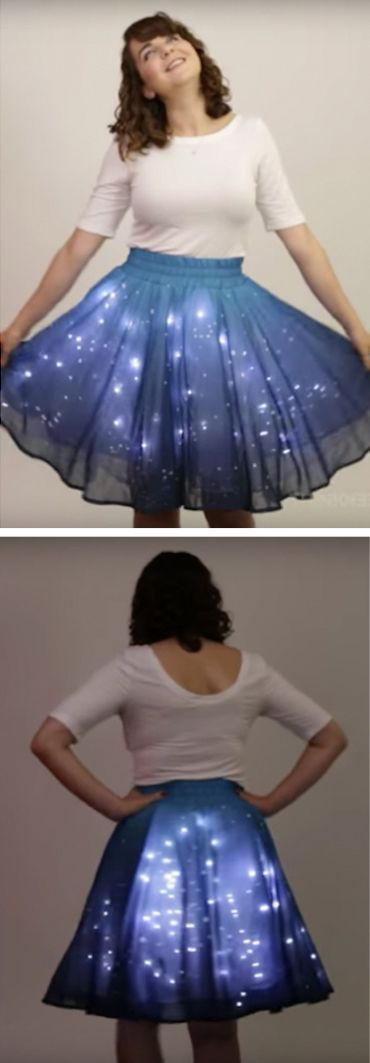 You'll shine when you wear this skirt—literally // star clothing // light up clothing // light up skirts