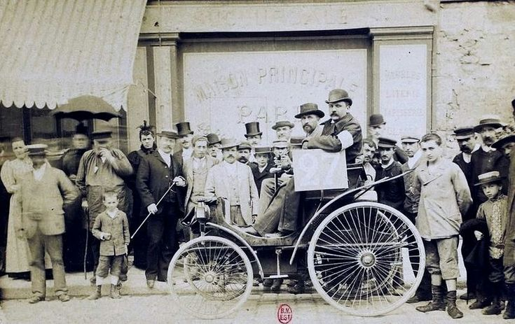 Louis Rigoulot on Peugeot 3 hp N ° 27, at Paris-Rouen 1894; Cars without horses. Contest organized by Le Petit Journal, July 22, 1894, Coll. R. Girard