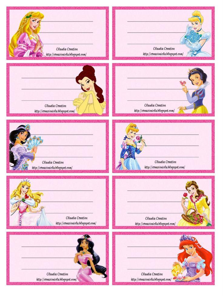 il mio angolo creativo: Etichette scuola Pricipesse Disney