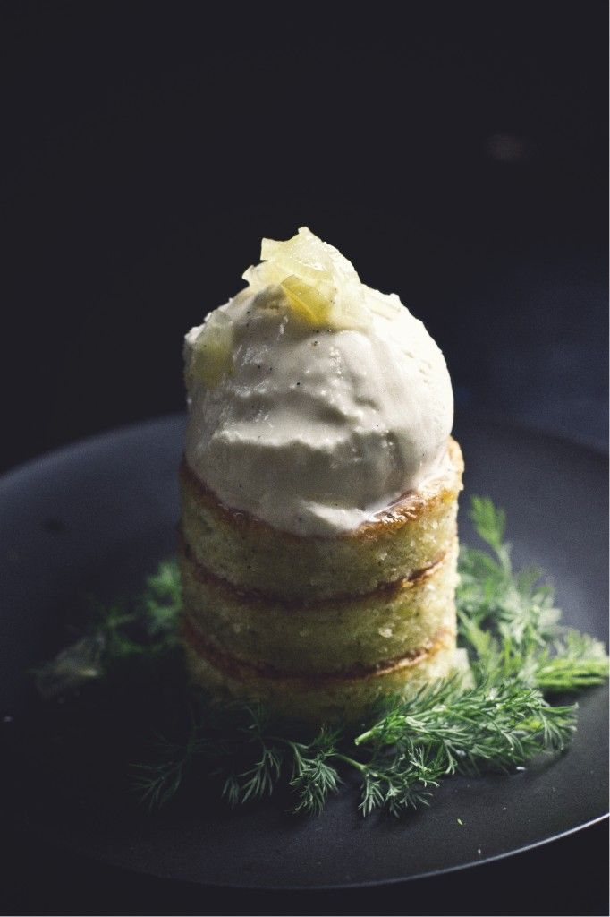 Fennel, Honey, Sea Salt Ice Cream; Chamomile Cake; Candied Fennel