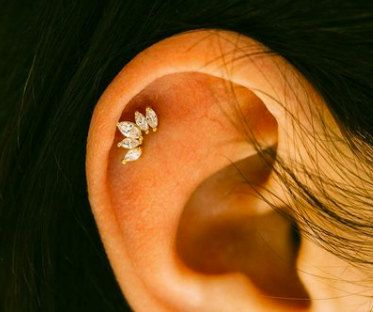 CZ Crown cartilage studs simple tragus by ShopOrigamiJewels