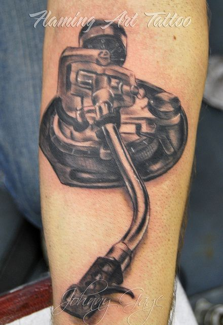 record player arm thing tattoo by johnny gage, via Flickr