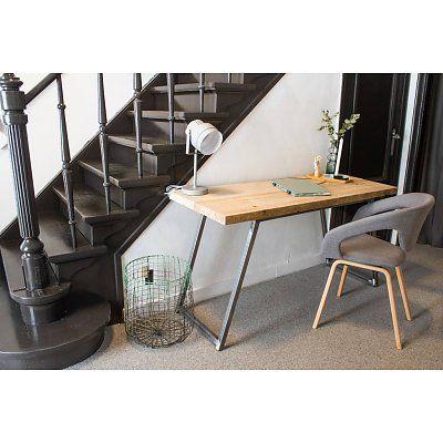 PURE wood design 'Spongsted' Bureautafel scheepshout met stalen frame schuin