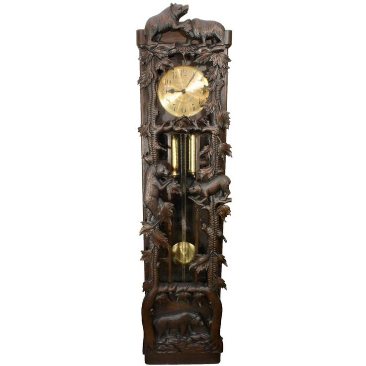 Black Forest Carved Long Case Clock with Bears and Trees, circa 1950   From a unique collection of antique and modern clocks at https://www.1stdibs.com/furniture/decorative-objects/clocks/