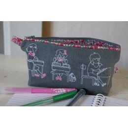 Mini Kit trousse d'écolier trio d'écoliers sur lin gris et liberty