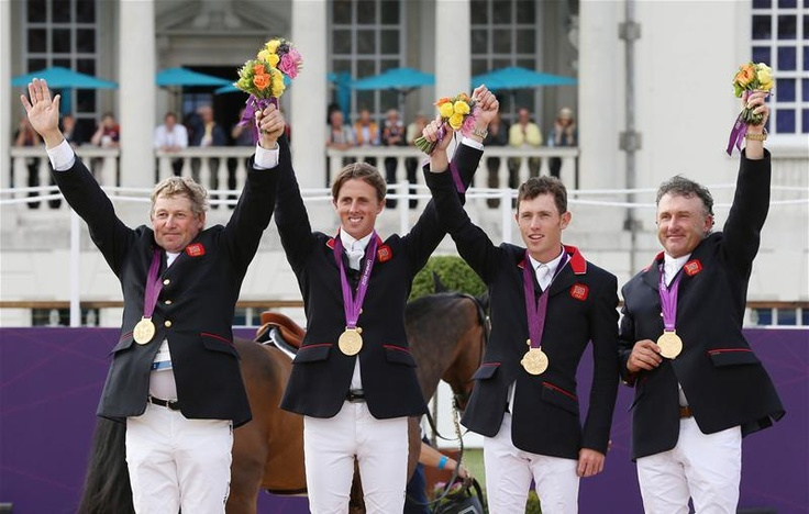 Nick Skelton, Ben Maher, Scott Brash and Peter Charles (L-R) win Great Britain's first jumping gold in 60 years.
