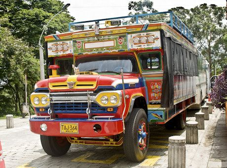 Chiva trucks, or chivas, are common transport in Colombia