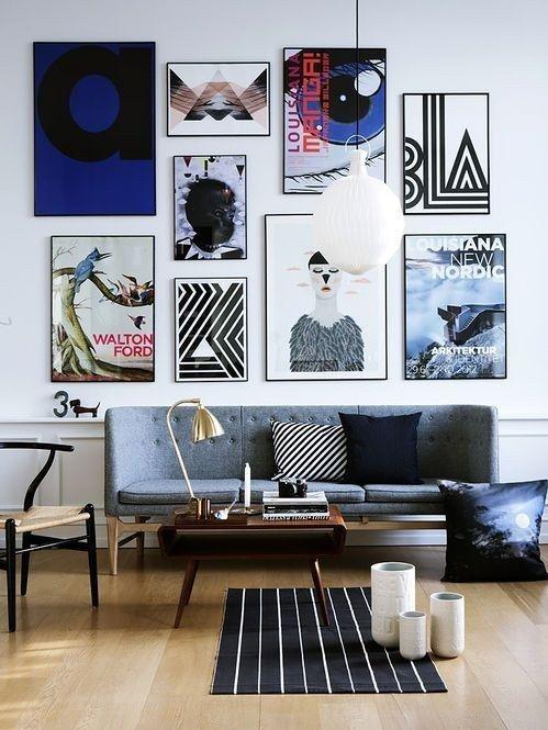 Nada mais elegante que uma parede de quadros. | 26 formas de revolucionar sua decoração usando prego, cola ou fita