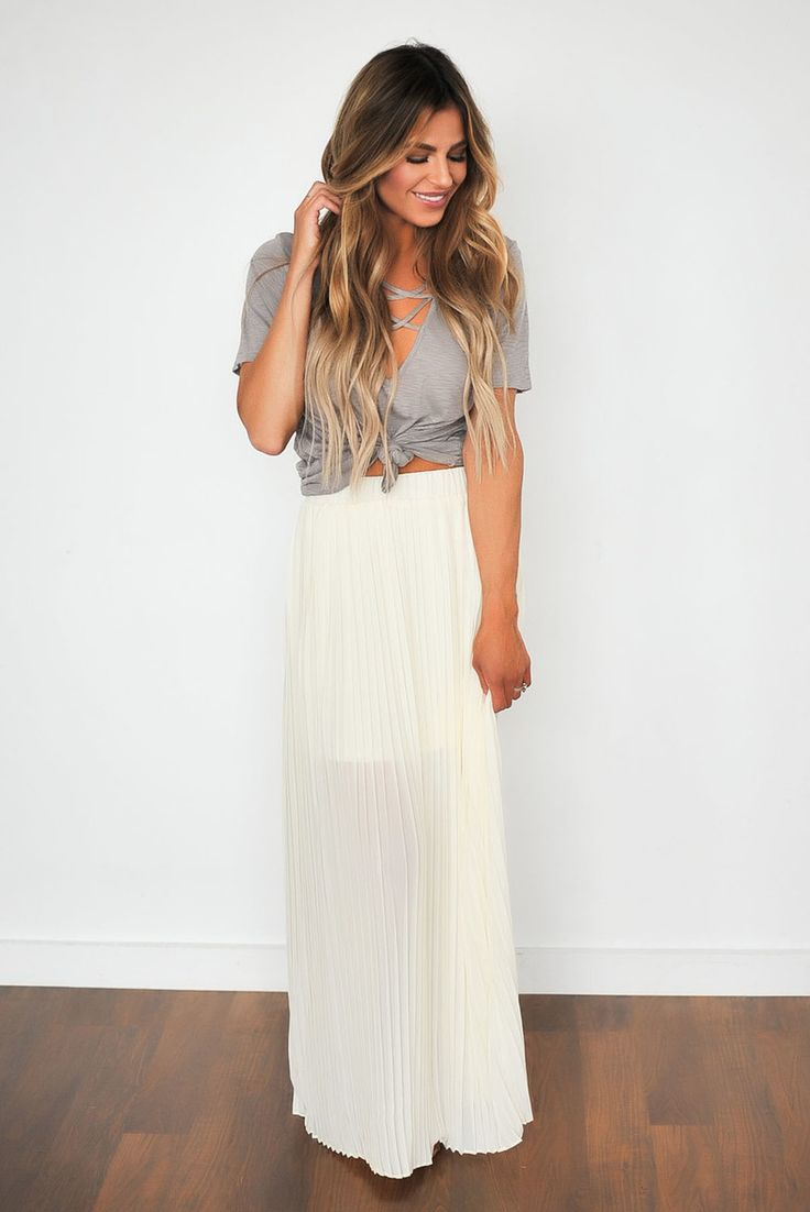 Pleated Maxi Skirt- Ivory - Dottie Couture Boutique
