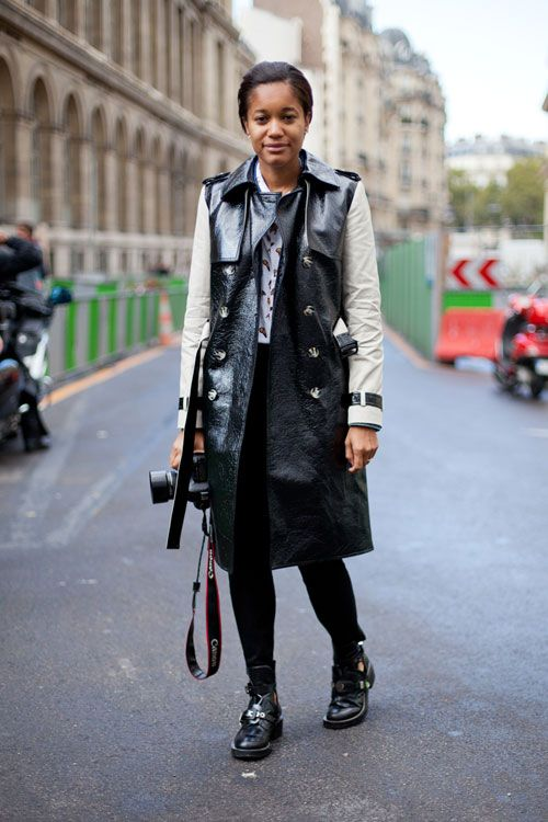 STREET STYLE SPRING 2013: PARIS FASHION WEEK - Tamu McPherson wears a leather trench well with punk-inspired shoes.