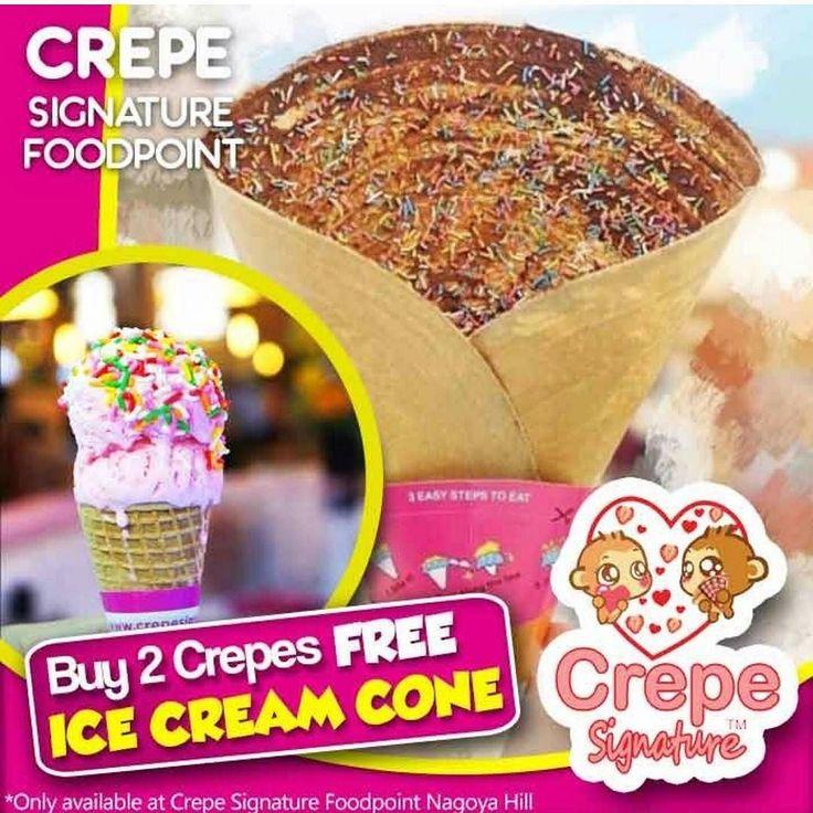 [Crepe Signature Free Ice Cream Cone]  Buy 2 Crepe Get 1 Ice Cream Cone P.S. Ice Cream Cone senilai Rp. 10.000  Crepe Signature utama adalah menyajikan rasa alami dari crepe dengan topping dari buah-buahan dan bahan lainnya yang alami dengan konsep kios take-away. Kami juga pelopor di Malaysia dengan menyediakan lebih dari 35 rasa seperti oreo chocolate kacang susu milo pisang cokelat ayam ham es krim dan lain-lain. Kini kami juga menyediakan minuman dingin seperti cokelat apel hijau mangga…