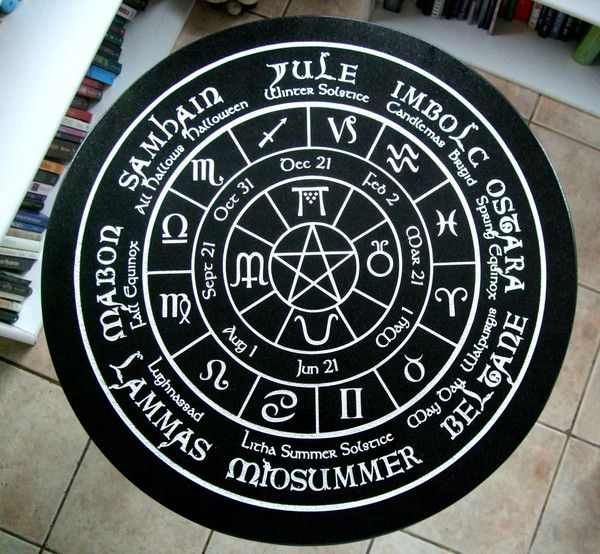 """Beautiful 24"""" round Black Italian Marble Table fully Engraved with the Pagan Wheel of the Year Calendar! This wheel signifies the turning of the Pagan calendar consisting of 8 holidays.Also, dates coi"""