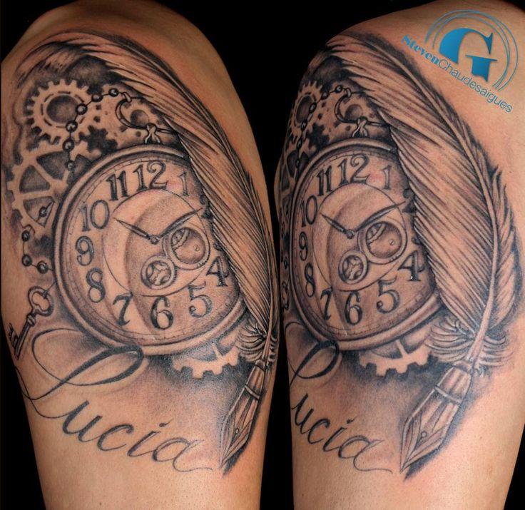 Les 25 meilleures id es concernant tatouages horloge sur pinterest tatouage cadran tatouages - Tatouage rose bras homme ...