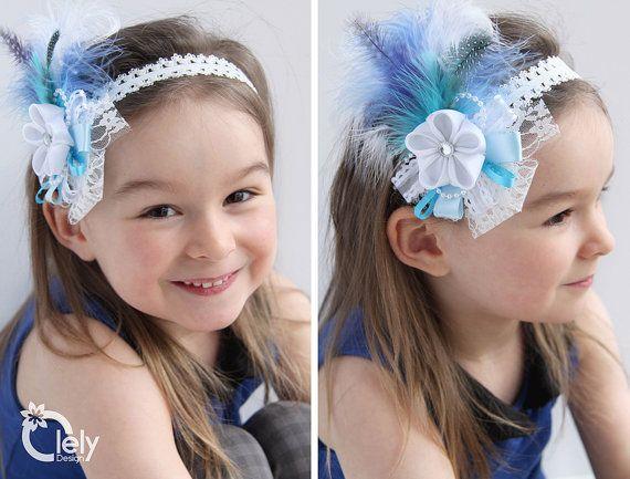 Flower Girl Headband Blue Headband Baby headband by OlelyDesign