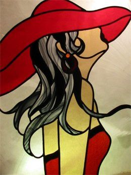 stained glass art Young woman profile red dress and big hat