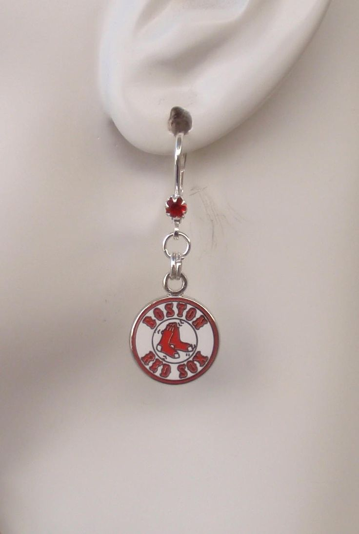Boston Red Sox Earrings, Pro Baseball Red Sox Jewelry Bling Accessory Fanwear, Red Crystal Leverback Baseball Earrings by scbeachbling on Etsy