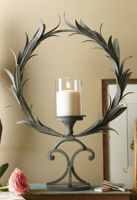 Wreath Candle Holder - Iron & Glass Candle Holders   Soft Surroundings      ᘡղbᘠ