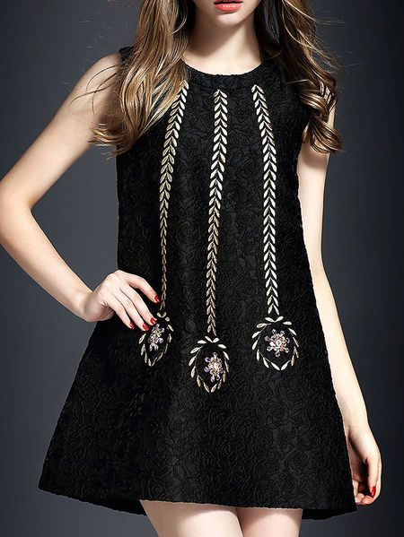Embroidery Beaded Mini Dress