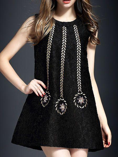 Embroidery Beaded Mini Dress